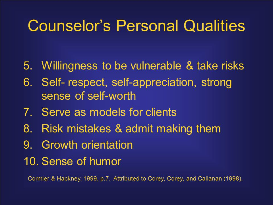 Counselor's Personal Qualities