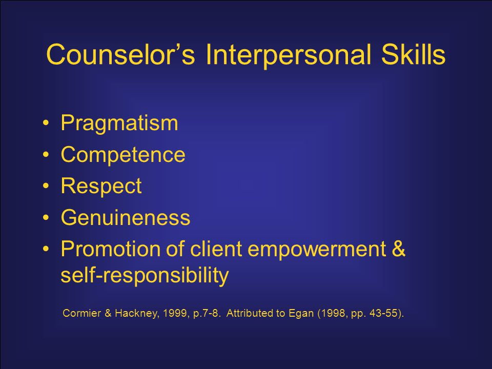 Counselor's Interpersonal Skills