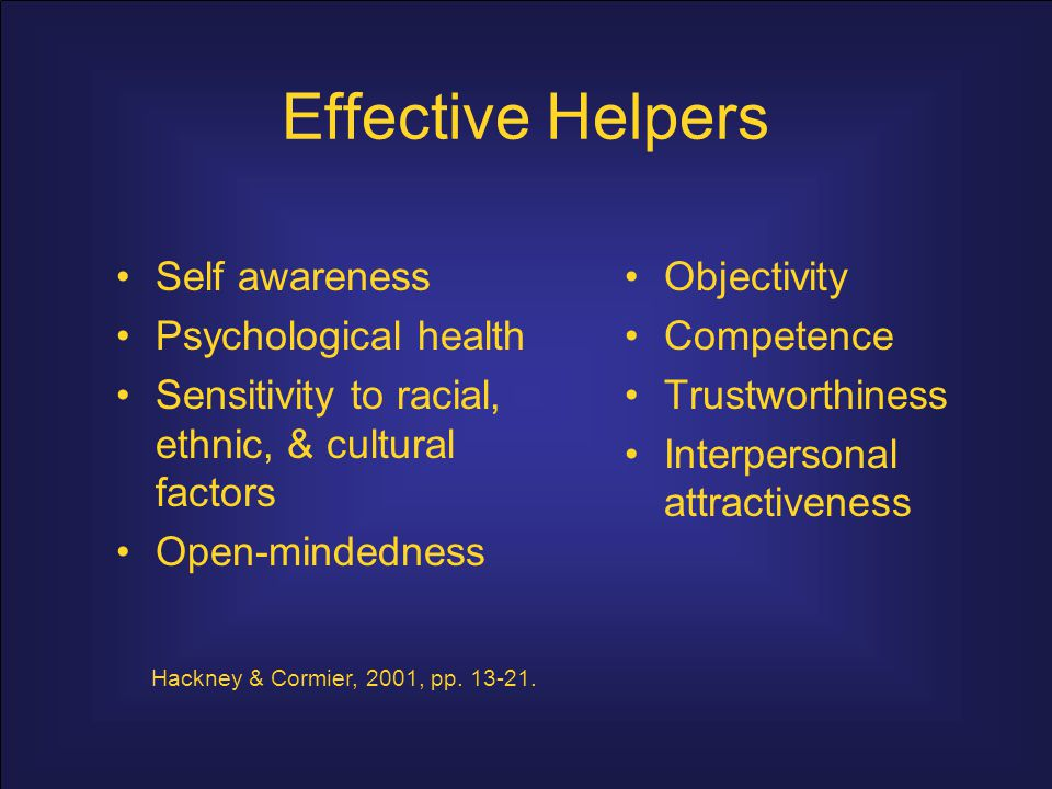 Effective Helpers Self awareness Psychological health
