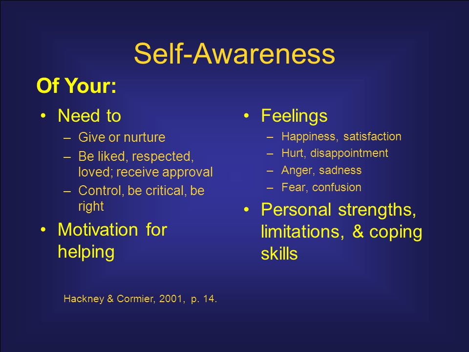 Self-Awareness Of Your: Need to Motivation for helping Feelings