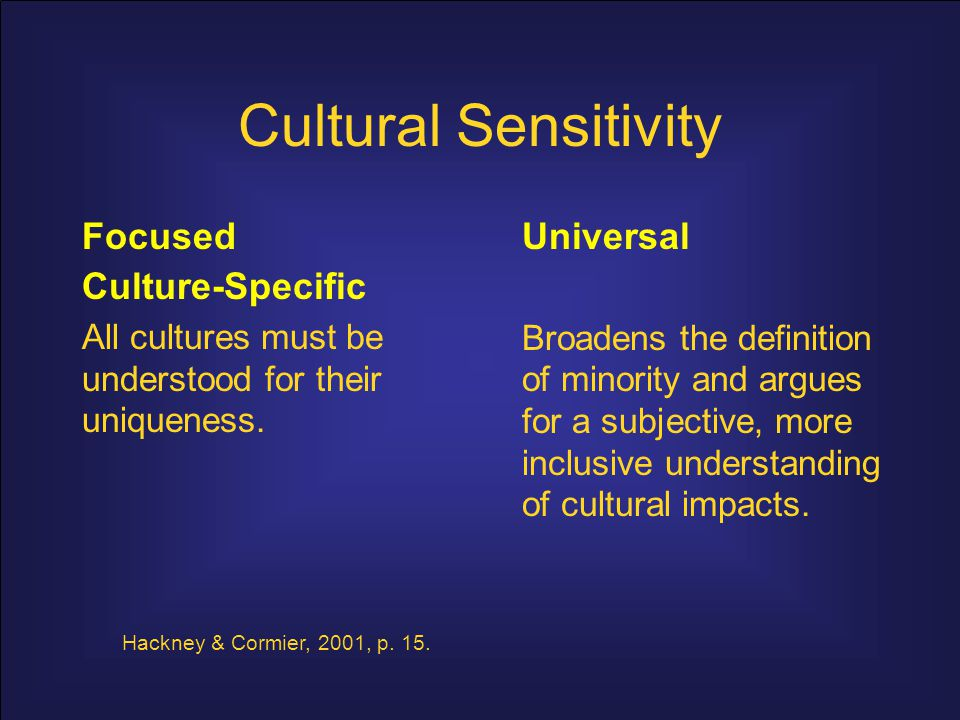 Cultural Sensitivity Focused Culture-Specific Universal