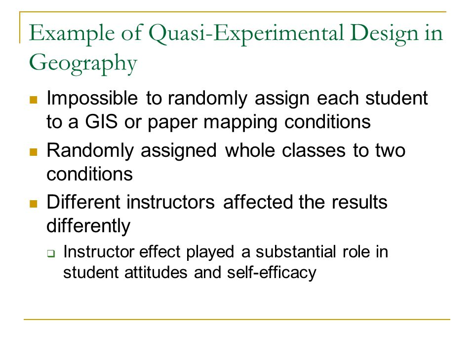 Example of Quasi-Experimental Design in Geography