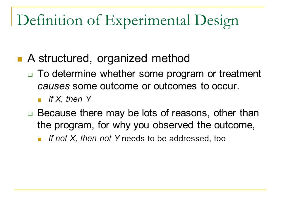 Definition of Experimental Design