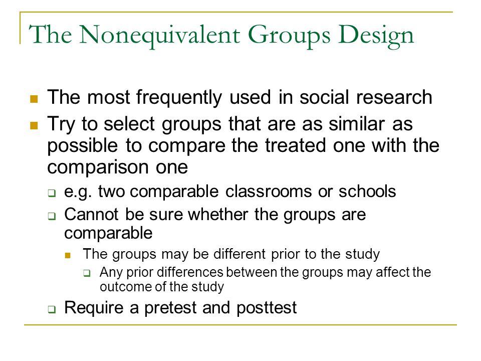 The Nonequivalent Groups Design