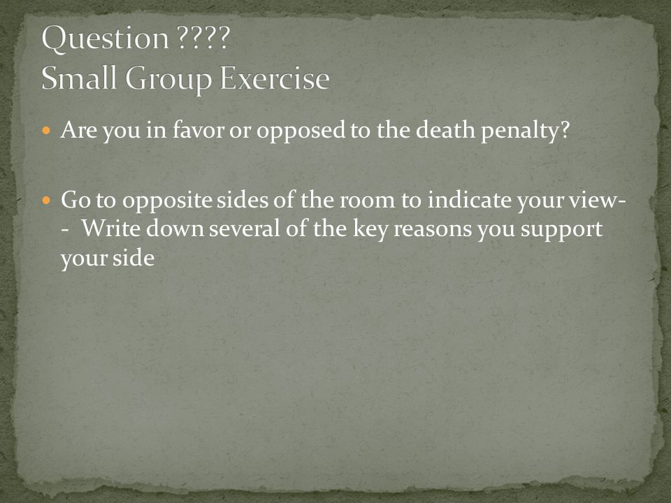Question Small Group Exercise