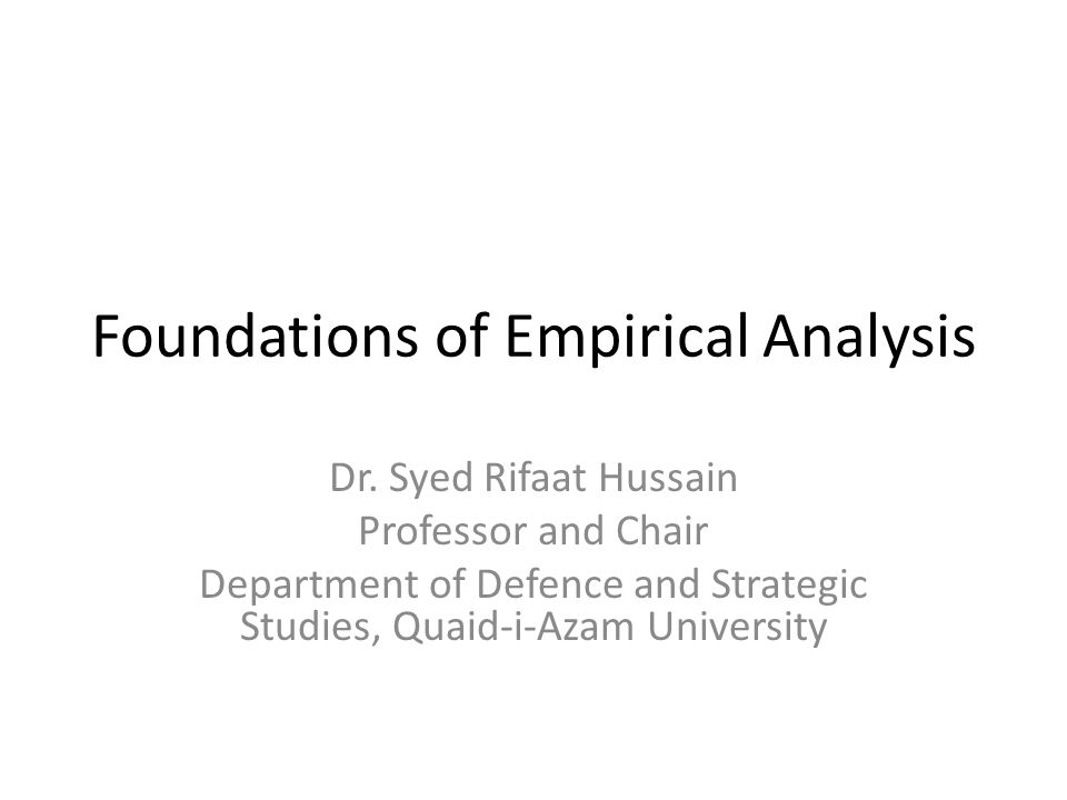 Foundations of Empirical Analysis