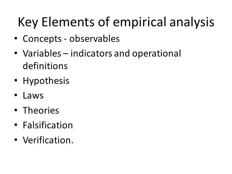 Key Elements of empirical analysis