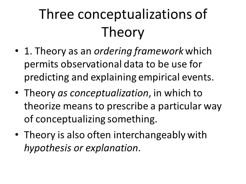 Three conceptualizations of Theory