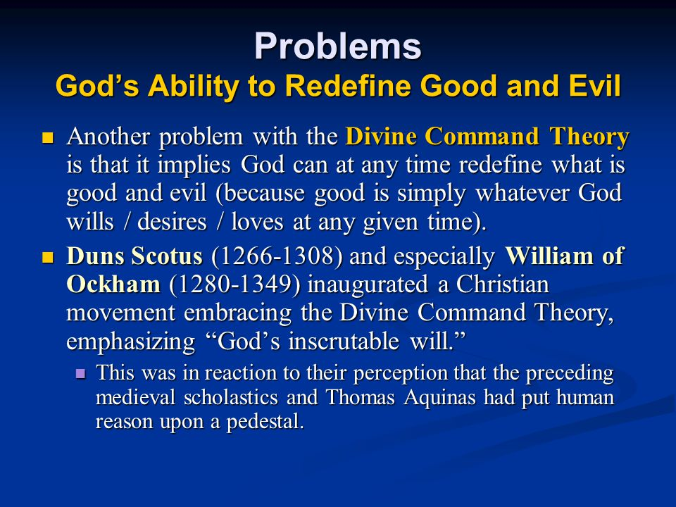 Problems God's Ability to Redefine Good and Evil
