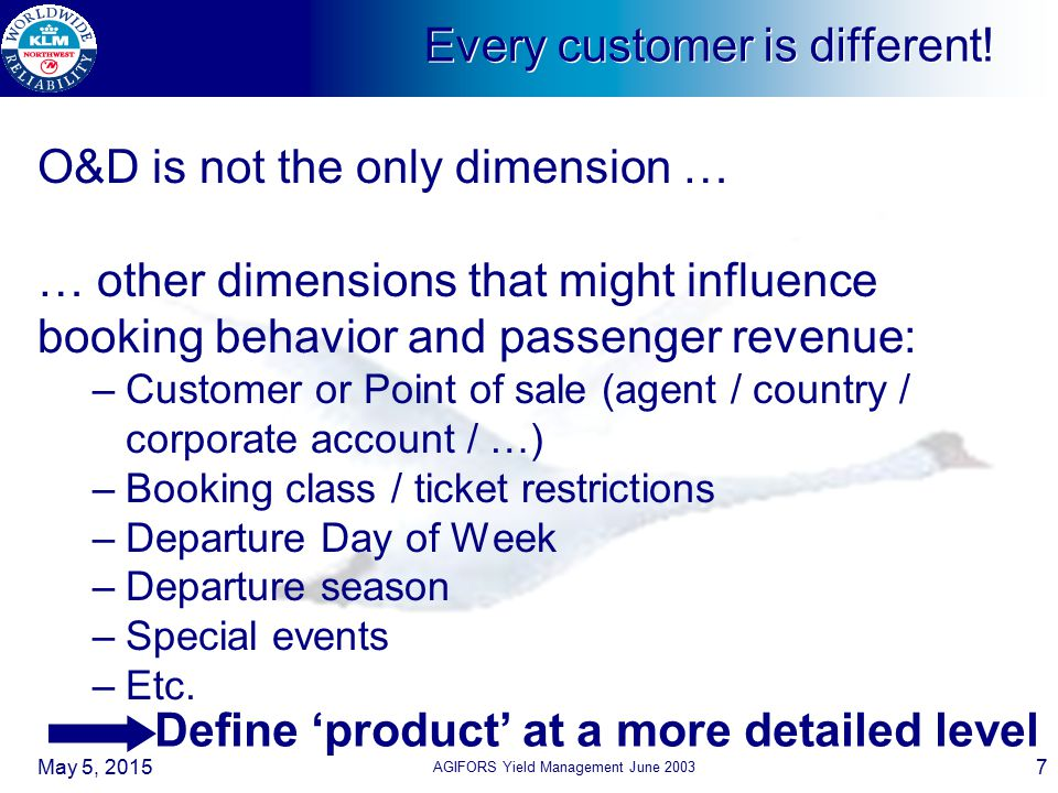 Every customer is different!