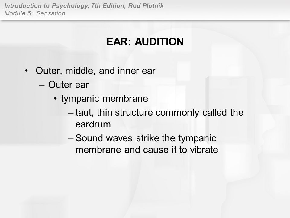 EAR: AUDITION Outer, middle, and inner ear Outer ear tympanic membrane