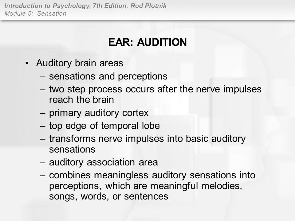 EAR: AUDITION Auditory brain areas sensations and perceptions