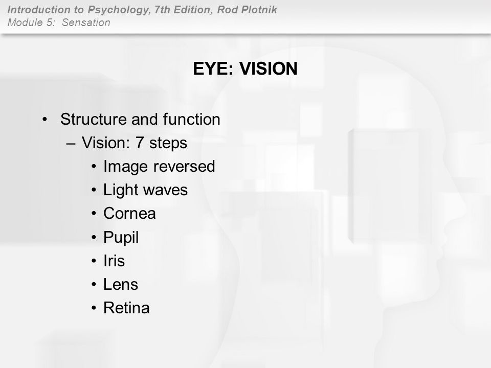 EYE: VISION Structure and function Vision: 7 steps Image reversed