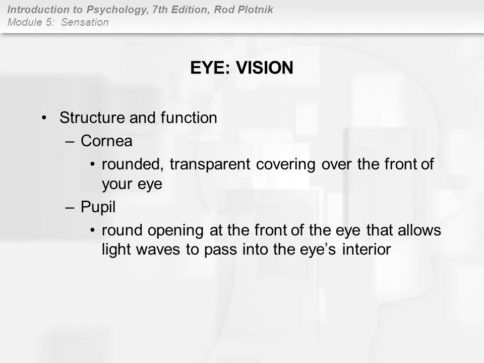 EYE: VISION Structure and function Cornea