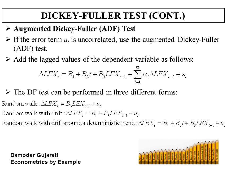 DICKEY-FULLER TEST (CONT.)