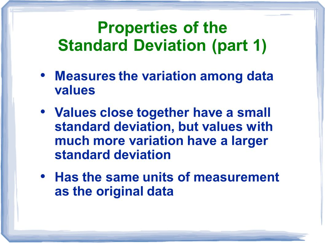 Properties of the Standard Deviation (part 1)