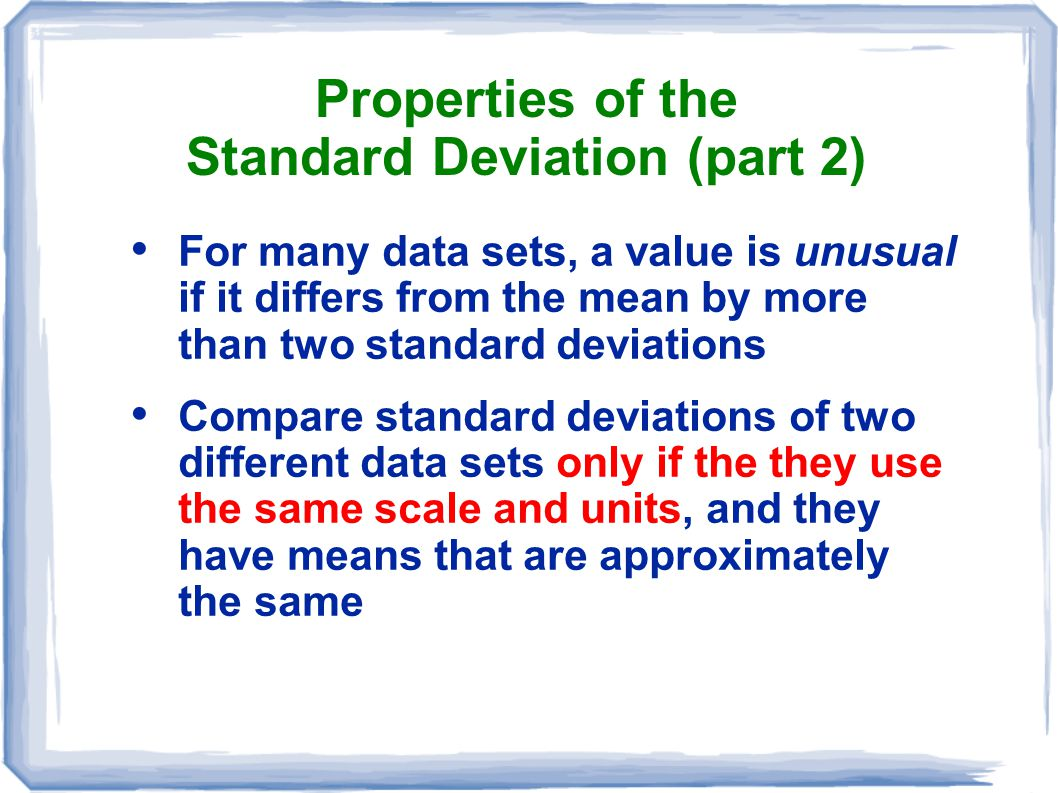 Properties of the Standard Deviation (part 2)