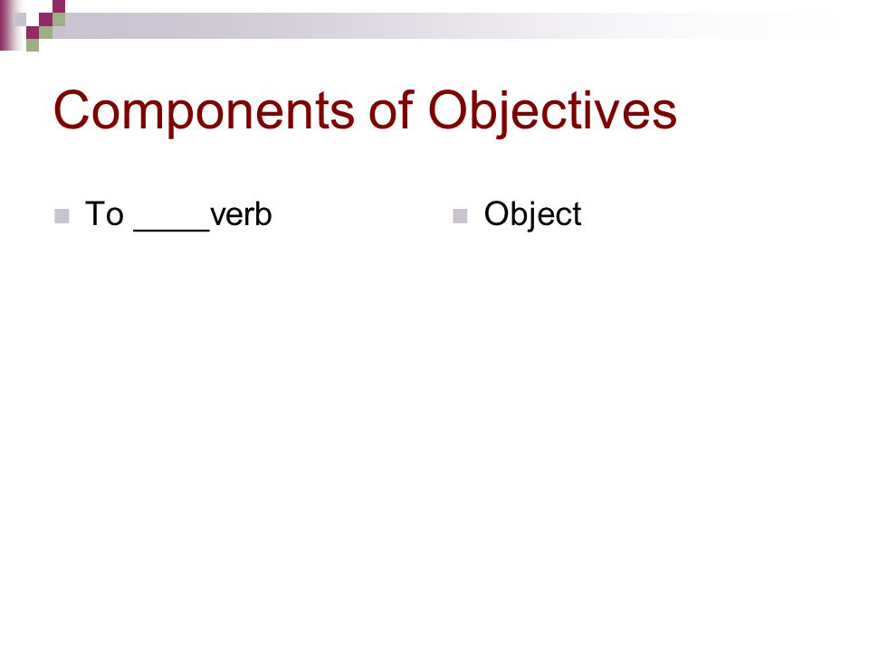 Components of Objectives