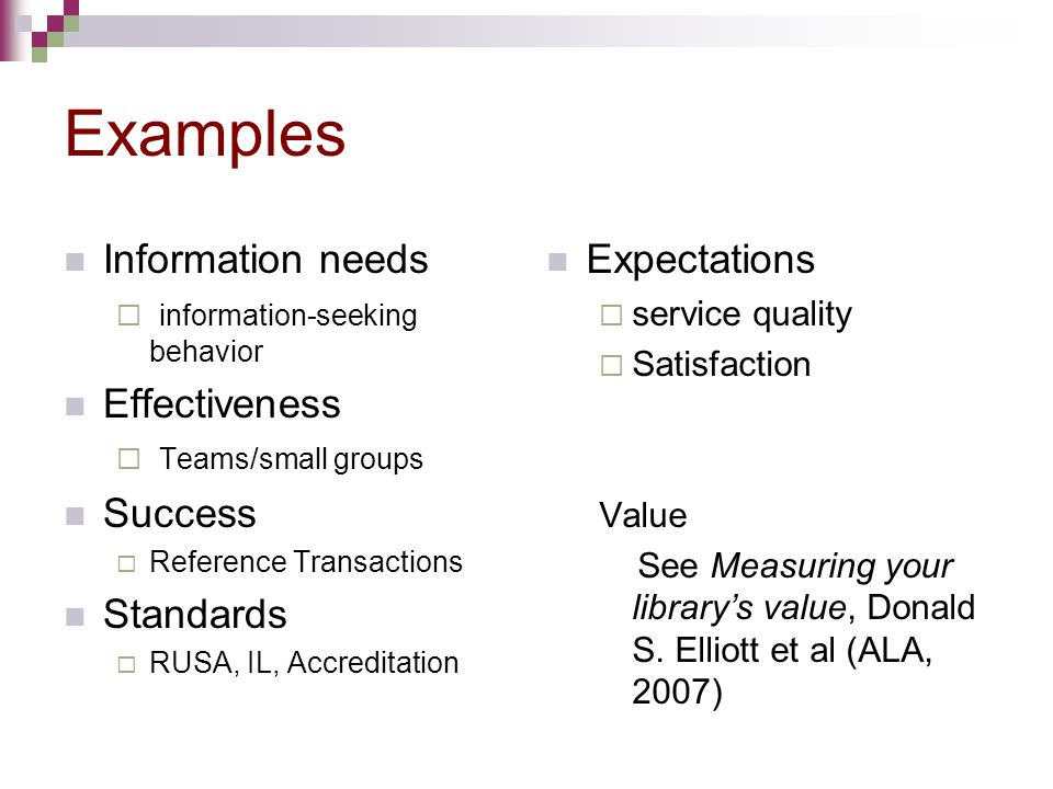 Examples Information needs Effectiveness Success Standards