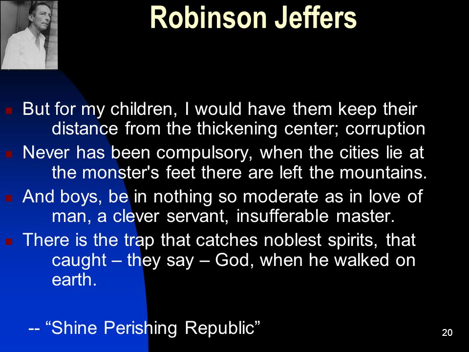 Robinson Jeffers But for my children, I would have them keep their distance from the thickening center; corruption.