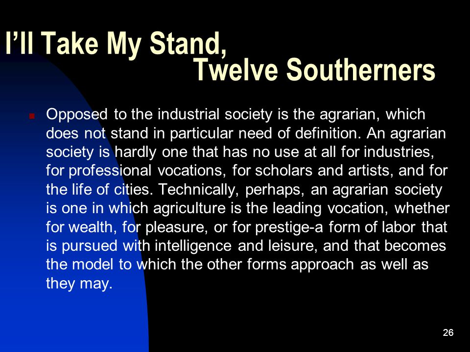 I'll Take My Stand, Twelve Southerners