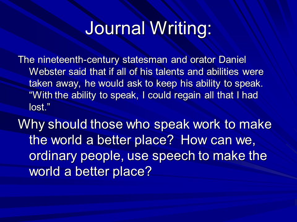 Journal Writing: