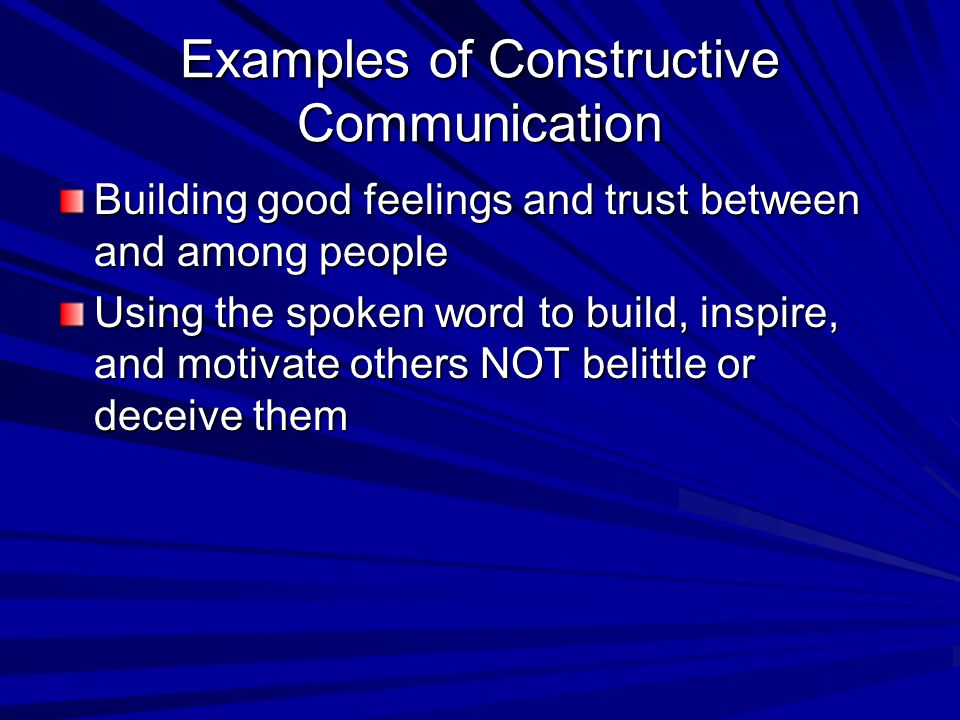 Examples of Constructive Communication