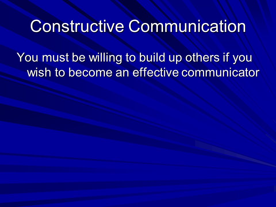 Constructive Communication