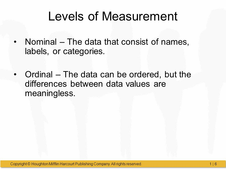 Levels of Measurement Nominal – The data that consist of names, labels, or categories.