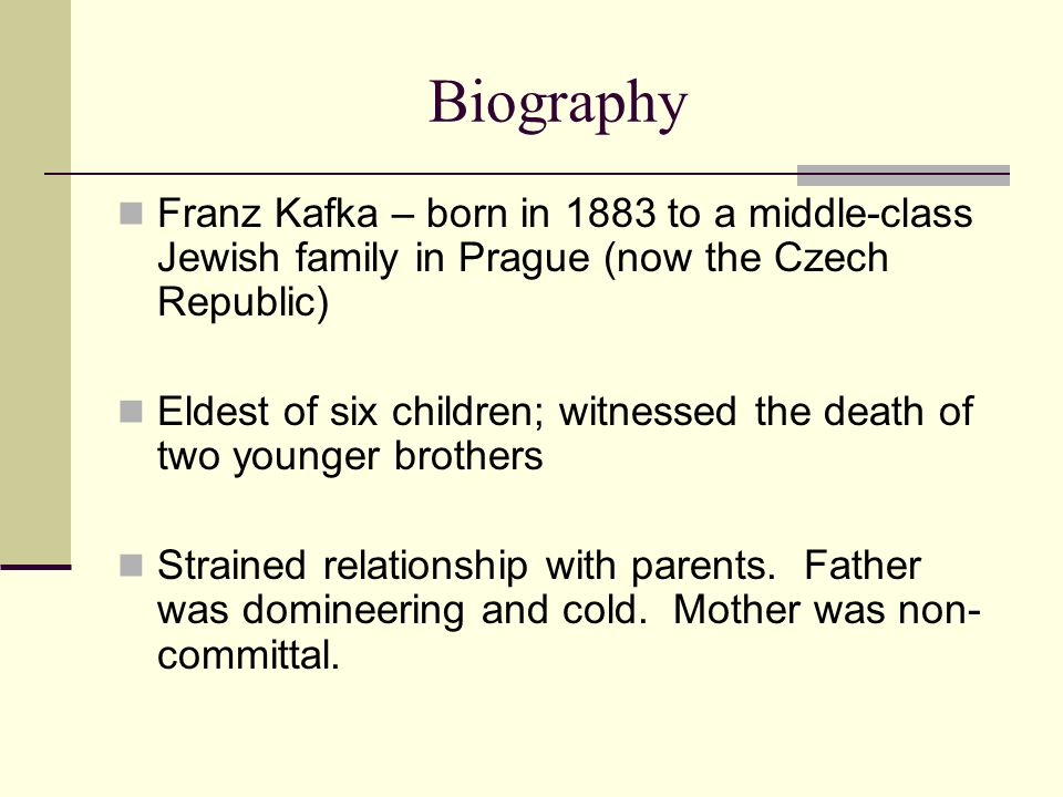 Biography Franz Kafka – born in 1883 to a middle-class Jewish family in Prague (now the Czech Republic)