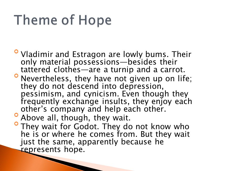 Theme of Hope Vladimir and Estragon are lowly bums. Their only material possessions—besides their tattered clothes—are a turnip and a carrot.