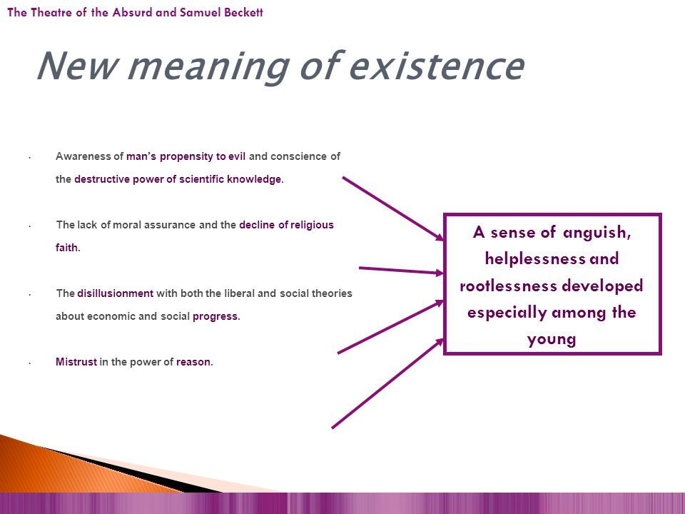 New meaning of existence