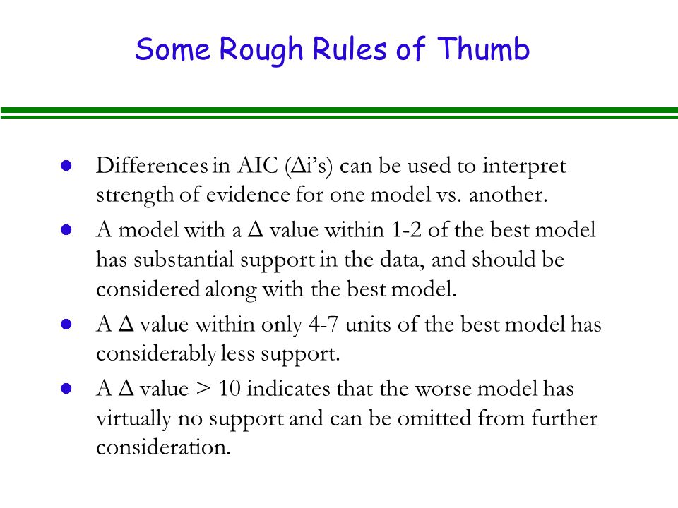 Some Rough Rules of Thumb
