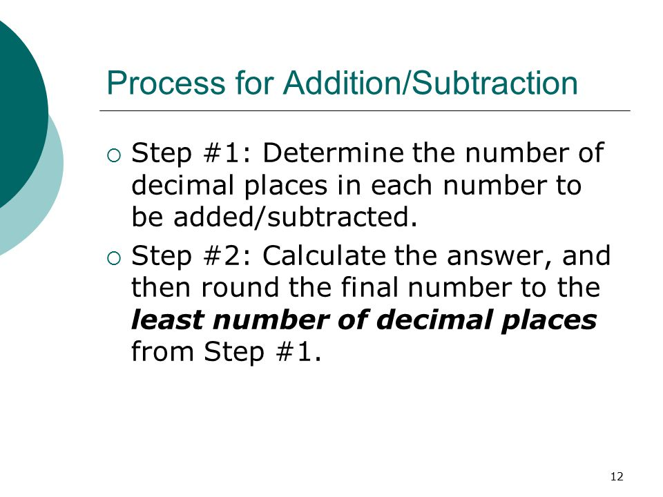 Process for Addition/Subtraction