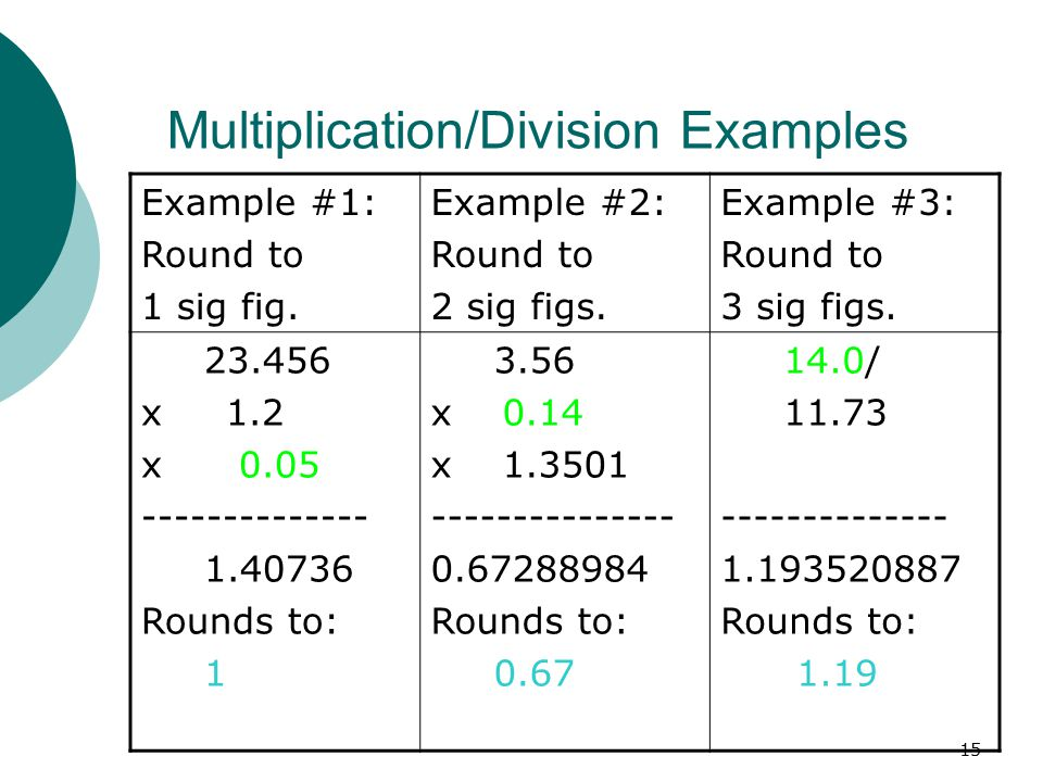 Multiplication/Division Examples
