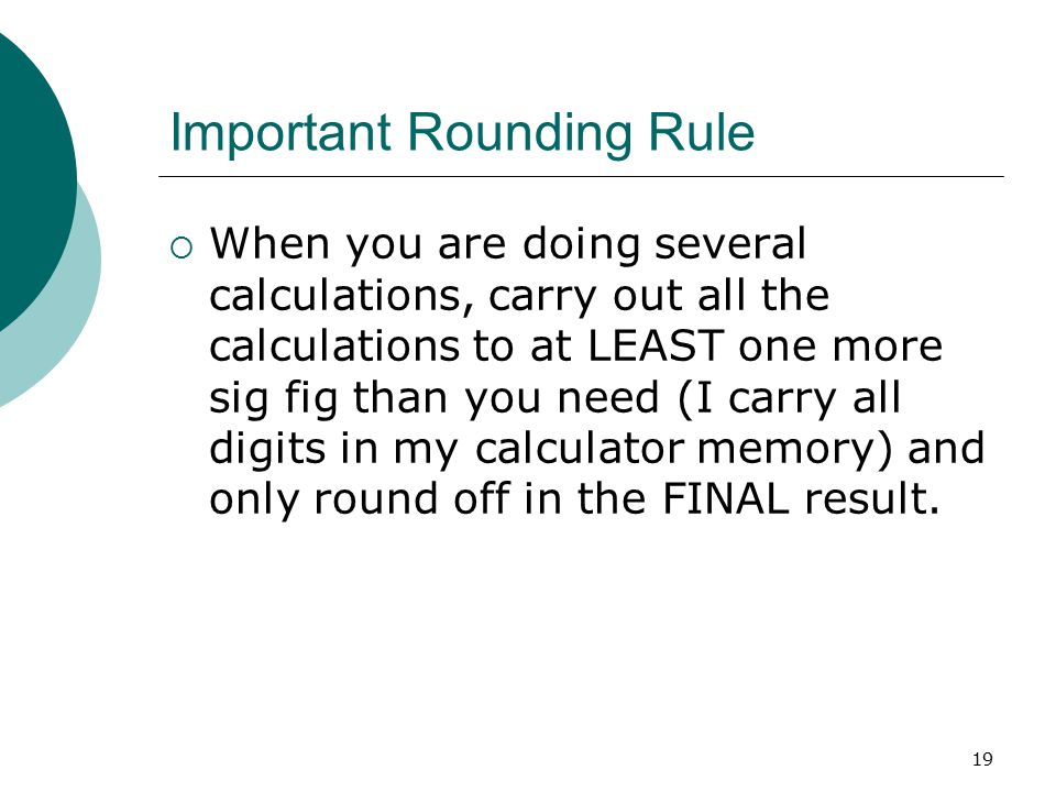 Important Rounding Rule