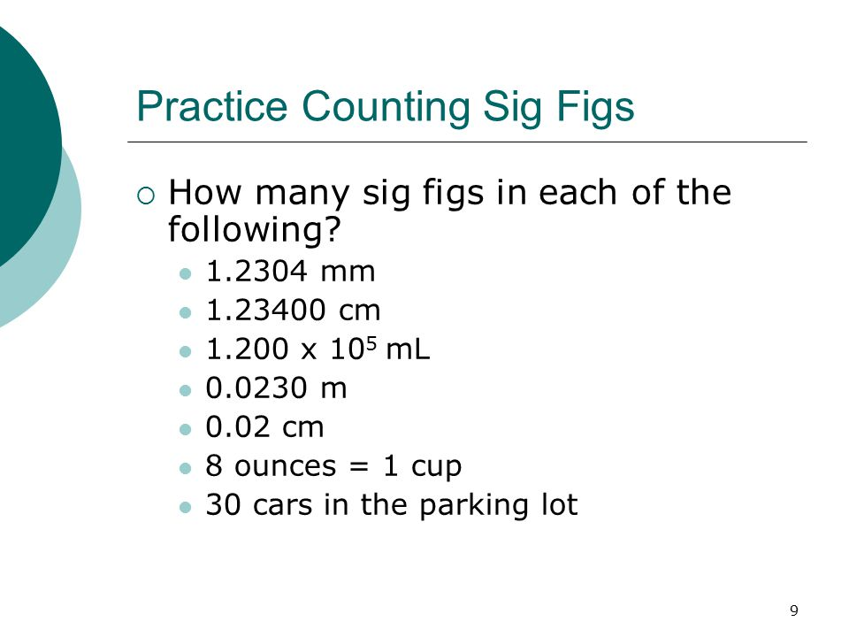 Practice Counting Sig Figs