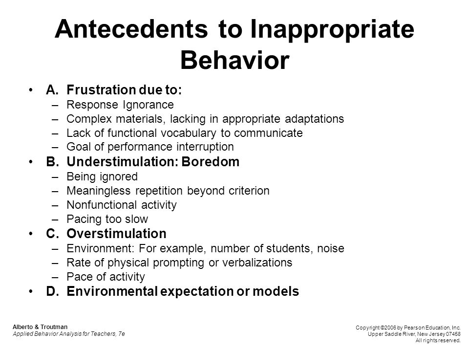 Antecedents to Inappropriate Behavior