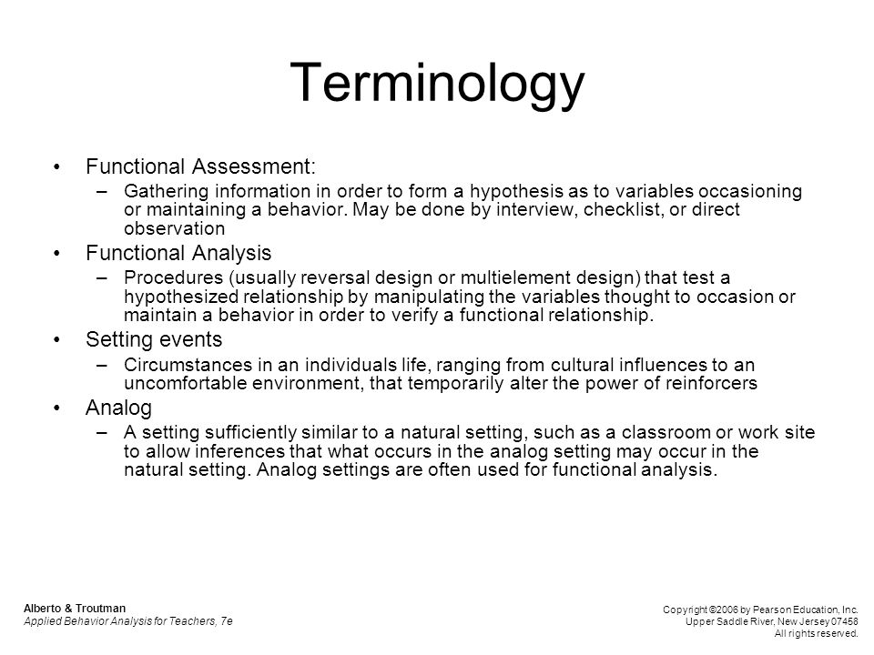 Terminology Functional Assessment: Functional Analysis Setting events
