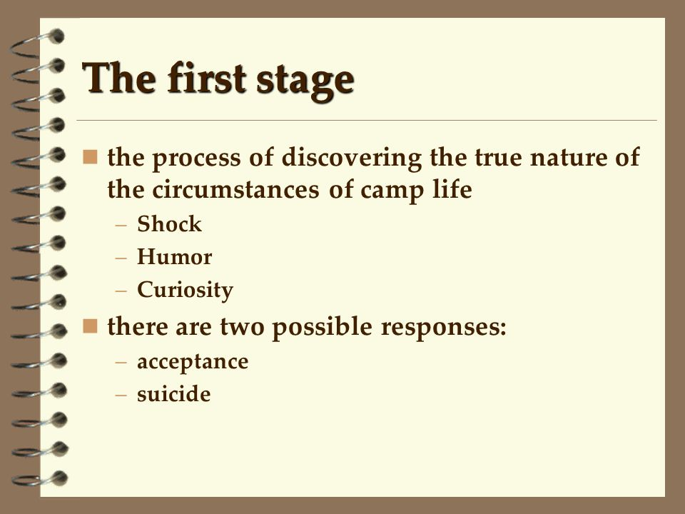 The first stage the process of discovering the true nature of the circumstances of camp life. Shock.