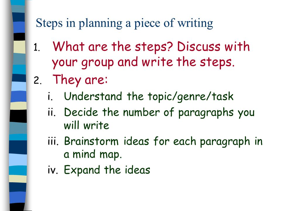 Steps in planning a piece of writing
