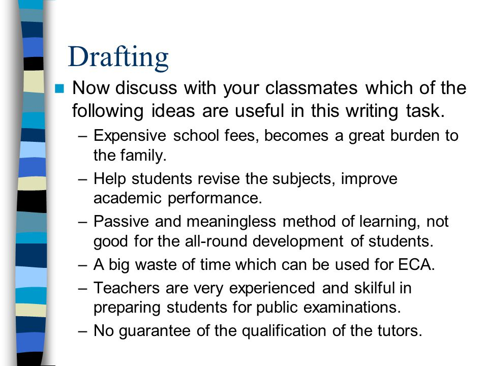 Drafting Now discuss with your classmates which of the following ideas are useful in this writing task.