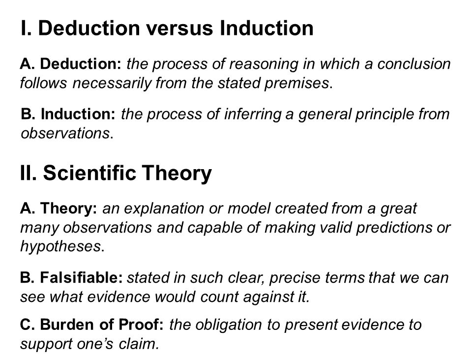 I. Deduction versus Induction