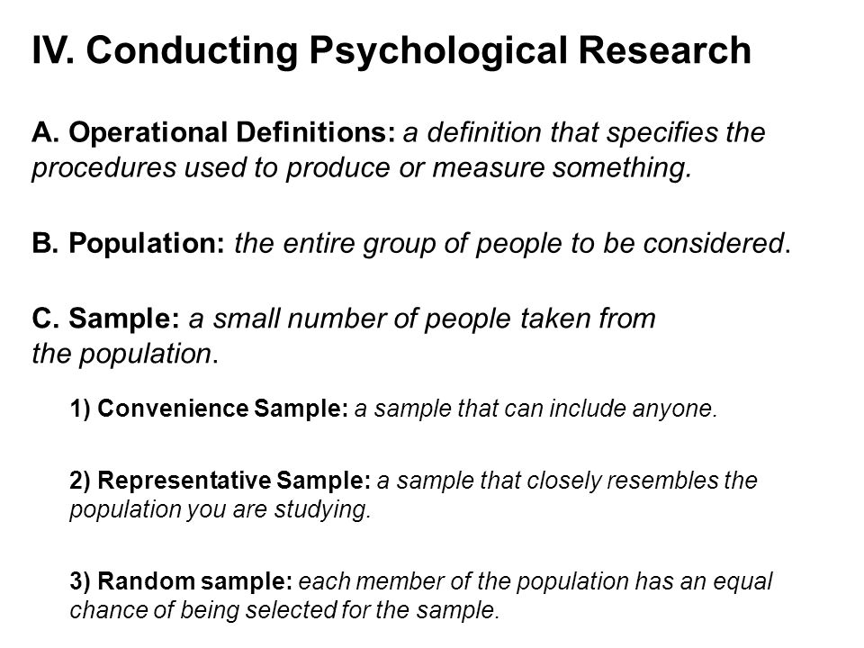 IV. Conducting Psychological Research