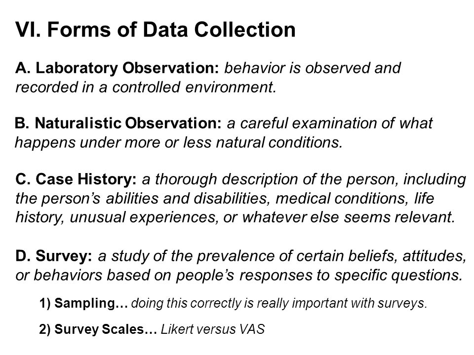 VI. Forms of Data Collection