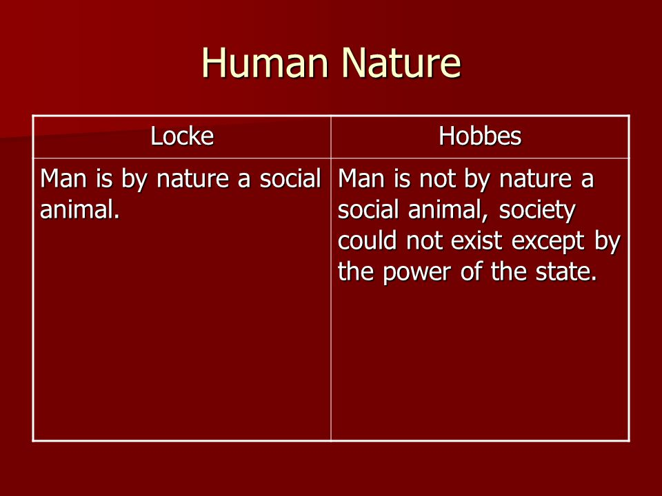 Human Nature Locke Hobbes Man is by nature a social animal.