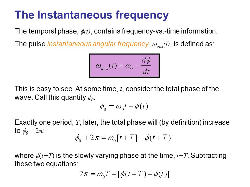 The Instantaneous frequency