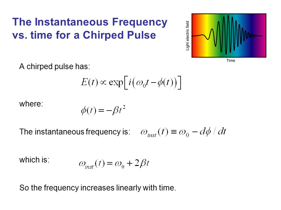 The Instantaneous Frequency vs. time for a Chirped Pulse