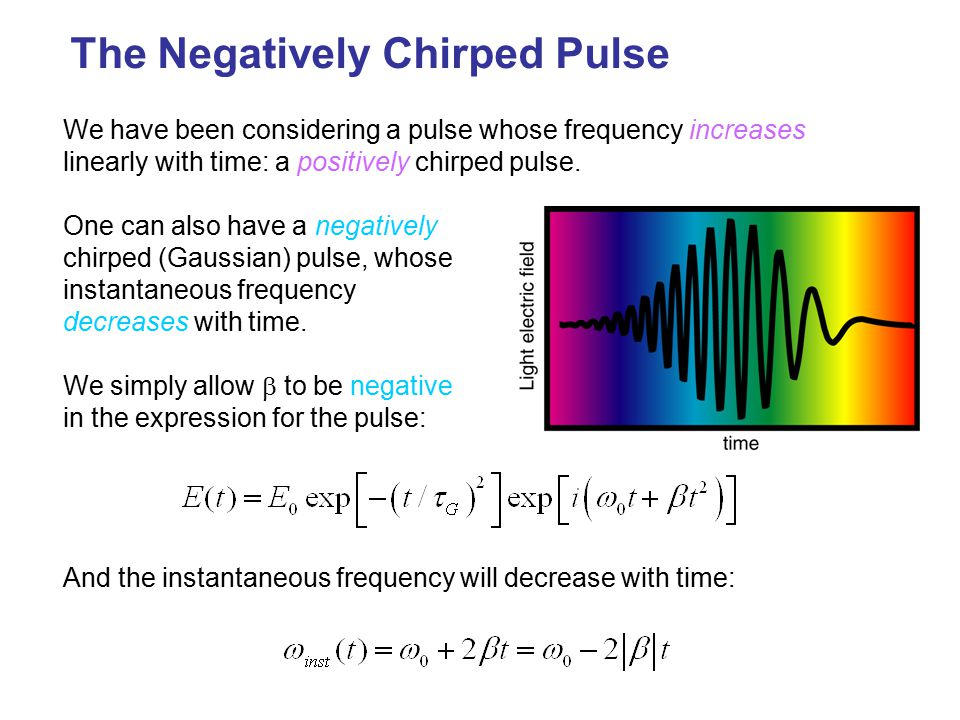 The Negatively Chirped Pulse