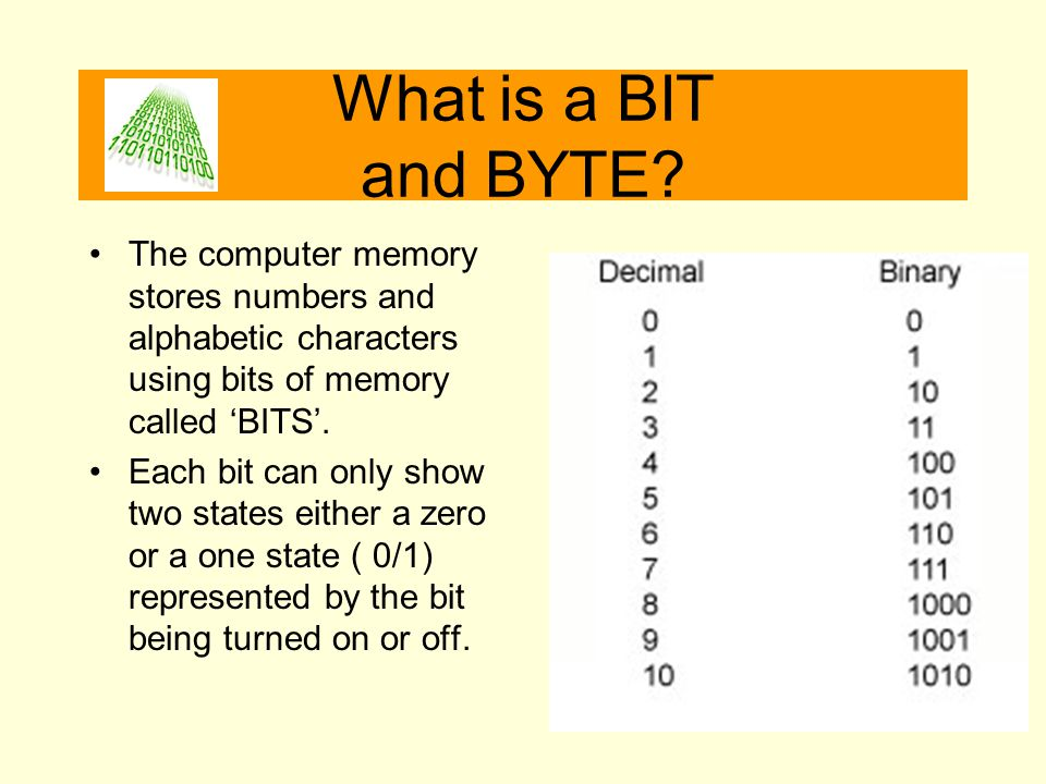 What is a BIT and BYTE The computer memory stores numbers and alphabetic characters using bits of memory called 'BITS'.